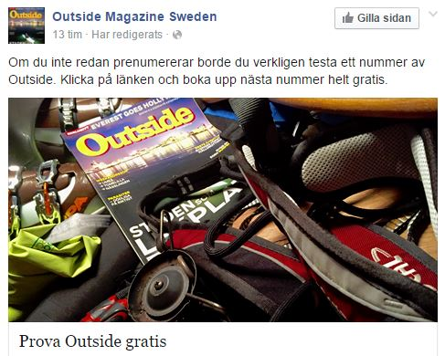 Gratis nr av tidningen Outside