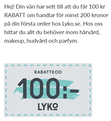 100 kr rabatt på Lyko