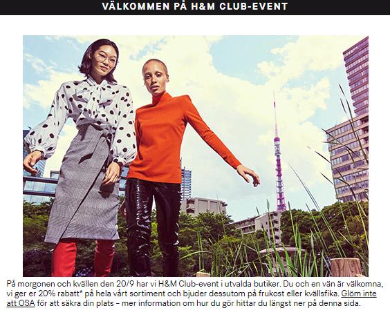 Gratis fika & 20% rabatt på H&M-event