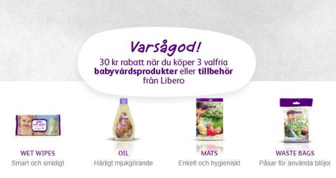30 kr rabatt på 3 valfria Libero babyvårdsprodukter