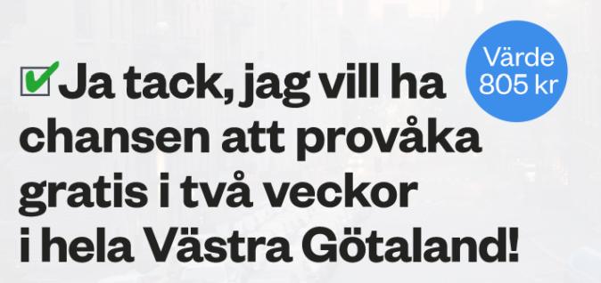 Gratis kollektivtrafik i 2 veckor (Västra Götaland)