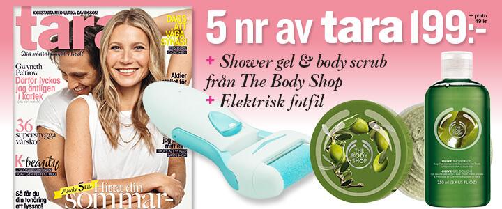 Tidningspremie: Elektrisk fotfil, olive shower gel & body scrub
