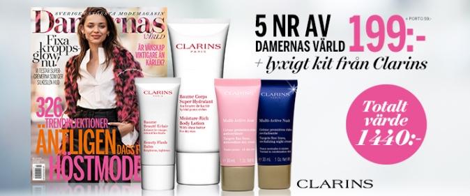 Tidningspremier - 4 Clarins produkter på köpet just nu